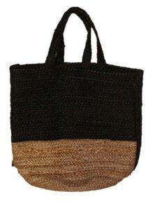 Hennep tas naturel-zwart