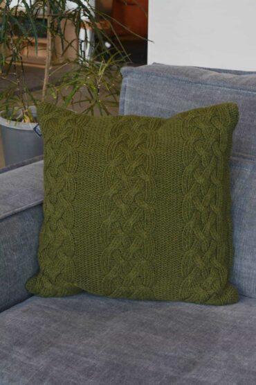 Kussen wol Pure wood groen