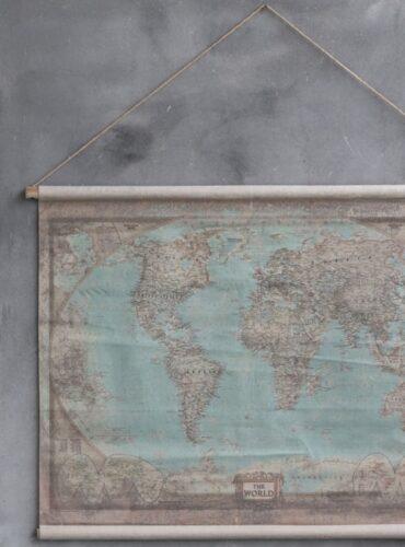 Oude landkaart wereld - Pure Wood