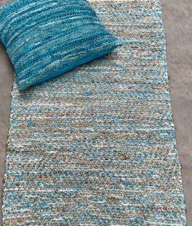 Vloerkleed leer met jute zeeblauw