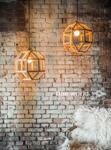 hanglamp gemaakt van oud teakhout