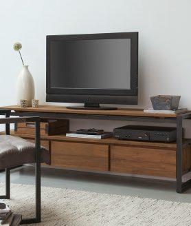 Leuke sfeerfoto van deze stoere tv meubel
