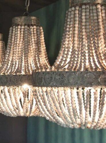 Hanglamp kralen hout wit