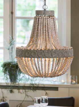 Hanglamp kralen hout wit 5