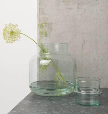 Tealight holder reclycled glas sfeerfoto