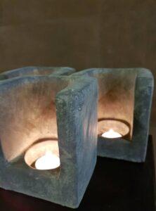 Theelicht vintage stone