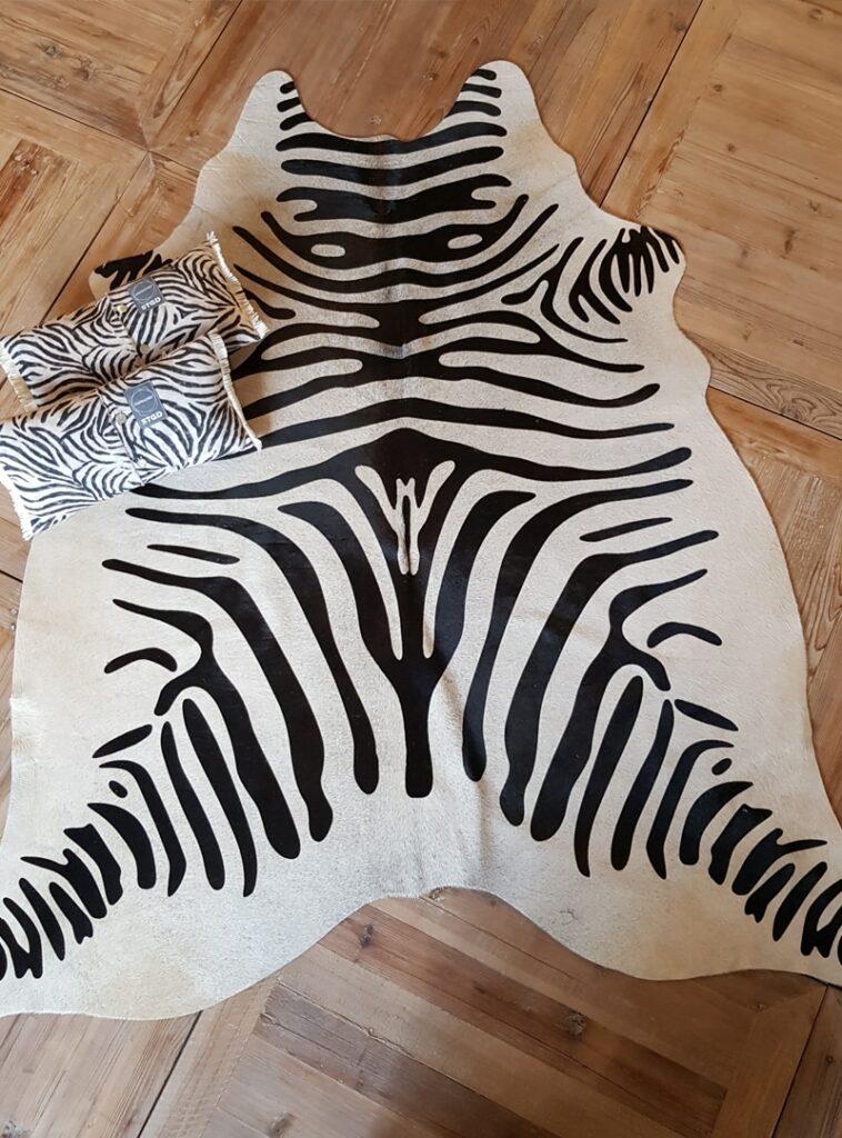 Koehuid met zebraprint