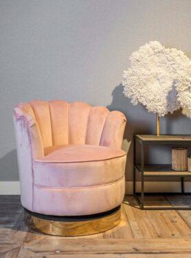 draaifauteuil velvet roze 2