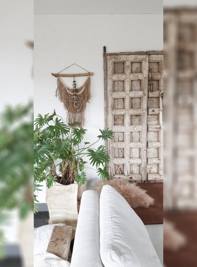 wandhanger jute met drijfhout