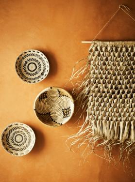 wandhanger zeegras aan bamboesteel