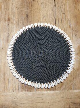 Placemat zwart rotan met schelpen
