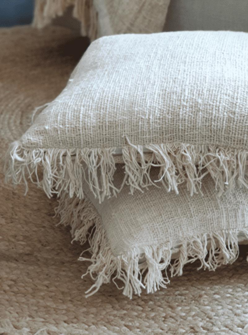 Kussenhoes linnen met franjes