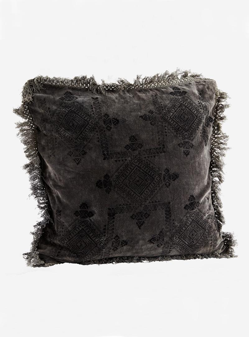 Sierkussen cotton velvet printed grijs madam stoltz 2