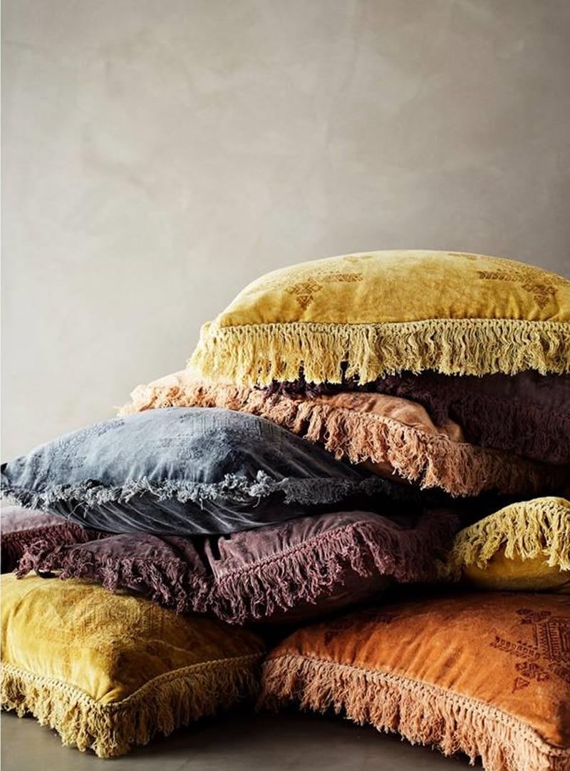 Sierkussen cotton velvet printed grijs madam stoltz