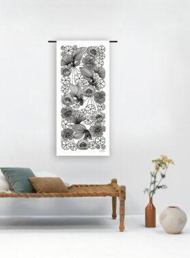 Wandkleed Harmony Lurin Basha zwart wit bloemen