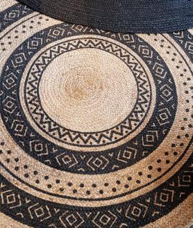 vloerkleed jute naturel print zwart