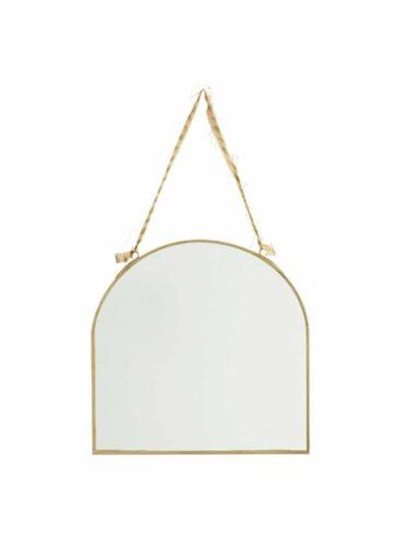 Spiegel brass met katoen ophangkoord 23 cm2