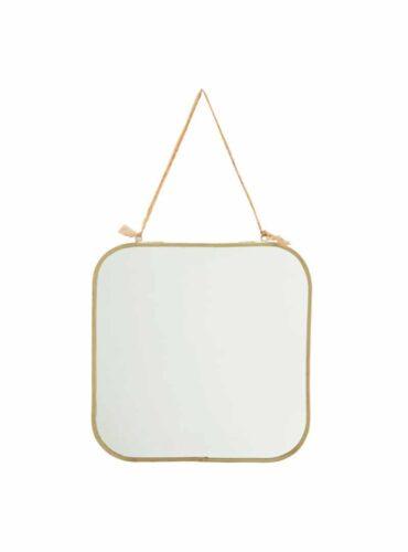 Spiegel brass met katoen ophangkoord 25 cm1