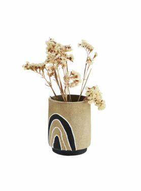 Terracotta vaas met print zwart-naturel-wit1