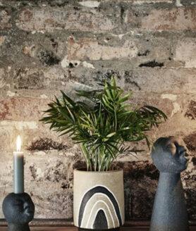 Terracotta vaas met print zwart-naturel-wit2