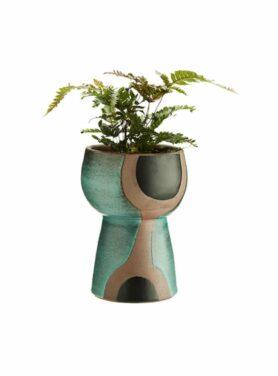 Terracotta vaas met print groen-zwart-naturel1