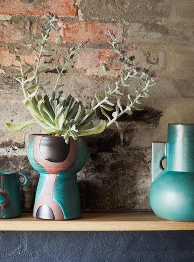 Terracotta vaas met print groen-zwart-naturel2