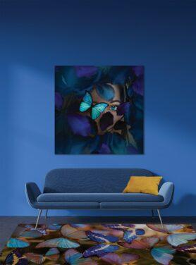 Aluminium schilderij Alu art blauwe vlinders