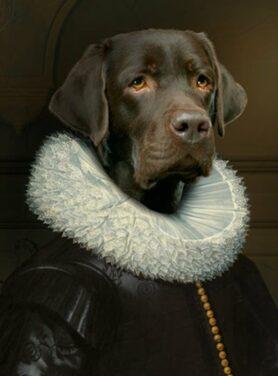Schilderij koninklijke hond Alu art