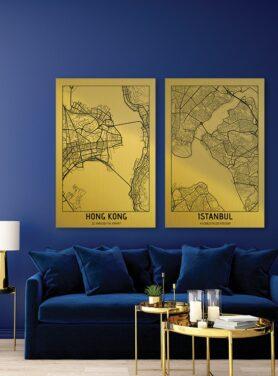 Sfeerfoto Alu Art citymap gold