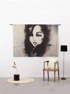 Wandkleed Her - vrouw zwart wit op katoen