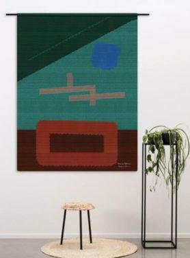 abstract wandkleed met contrasterende kleuren