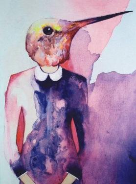 Wandkleed Vogel 1