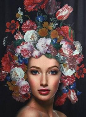 Wandkleed Woman Flowers 2