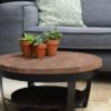 Salontafel paras rond hout met zwart onderstel industrieel