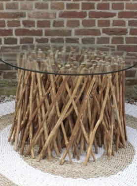 Salontafel Meja met onderstel van houten takken en glasplaat